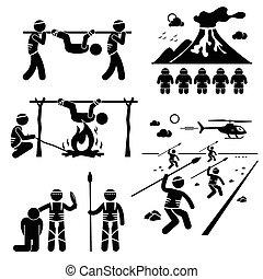 tribù, civilizzazione, perso, cannibale