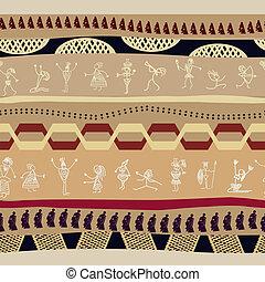 tribale, persone, modello, primitivo, silhouette, seamless, maschera
