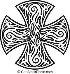 tribale, tattoo), croce, (cross