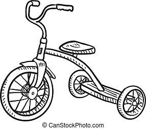 triciclo, bambino, schizzo