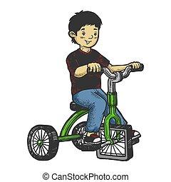 triciclo, graffio, asse, capretto, schizzo, colorare, mano, quadrato, ruote, image., illustration., bambini, imitation., disegnato, vettore, stile, incisione, ragazzo