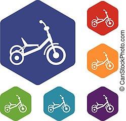 triciclo, set, icone