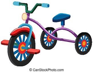 triciclo, uno, sfondo bianco