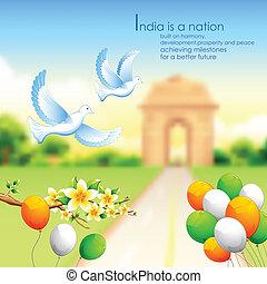 tricolore, balloon, india, fondo, cancello