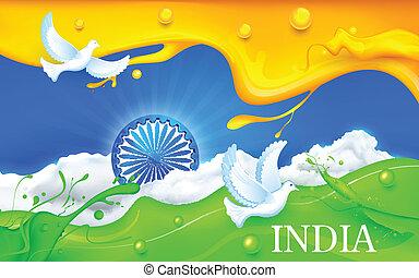 tricolore, bandiera, volare, colomba, indiano