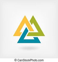 tricolore, simbolo., valknut, collegato, triangoli