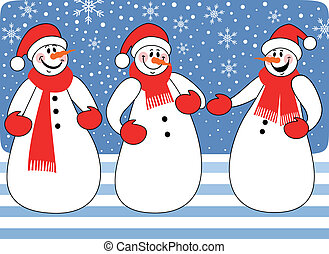 trio, snowmen