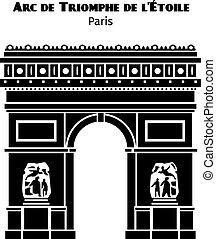 triomphe, silhouette, parigi, de, isolato, arco, vettore, nero