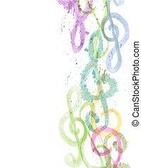 triplo, acquarello, bianco, clefs, g