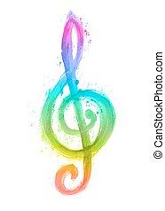 triplo, arcobaleno, chiave, acquarello, g
