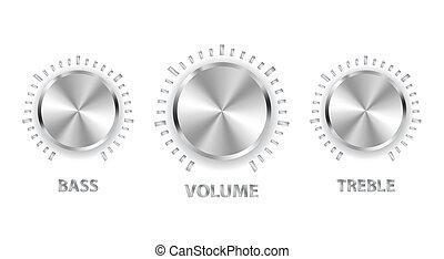 triplo, basso, metallo, volume, vettore, manopole