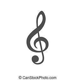 triplo, bianco, chiave, isolato, fondo, icona, vettore, musica, illustrazione