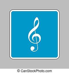 triplo, blu, clef., g-clef., segno., musica, violino, bianco, chiave, icona