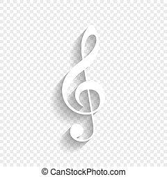 triplo, clef., uggia, g-clef., segno., fondo., chiave, musica, vector., violino, bianco, morbido, trasparente, icona
