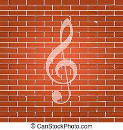triplo, clef., whitish, parete, g-clef., segno., fondo., musica, vector., violino, mattone, chiave, icona