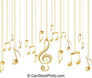 triplo, dorato, note, chiave, musicale, scheda