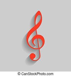 triplo, grigio, clef., g-clef., segno., fondo., chiave, musica, vector., violino, uggia, morbido, rosso, icona