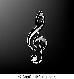 triplo, grigio, clef., g-clef., segno., fondo., nero, stampato, vector., violino, musica, 3d, chiave, icona