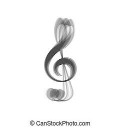 triplo, grigio, clef., g-clef., segno., fondo., shaked, vector., violino, musica, bianco, chiave, icona