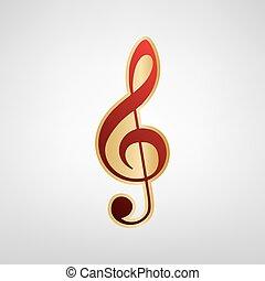 triplo, grigio, clef., oro, g-clef., segno., fondo., musica, vector., luce, violino, chiave, adesivo, rosso, icona