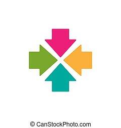 triplo, icon., scontrarsi, frecce, colorito, quattro, center., punto, quadrato
