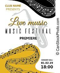 triplo, nota, classico, festival, manifesto, note, jazz, doga, astratto, onda, coro, fondo., vettore, musica, armonia, turbine, chiave, musicale