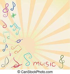 triplo, note, chiave, musicale, fondo