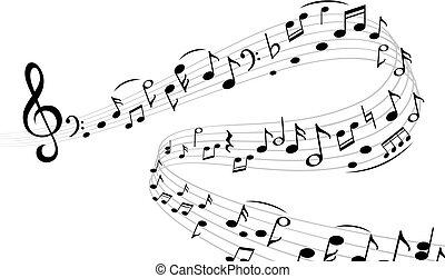 triplo, note, doga, nota musicale, silhouette, vettore, musica, armonia, turbine, composizione, chiave, astratto, wave.