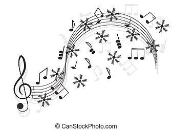 triplo, note, fiocco di neve, music., chiave, tuo, design.
