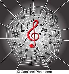 triplo, web, note, ragno, musica, chiave