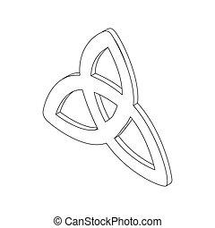 triquetra, isometrico, icona, 3d