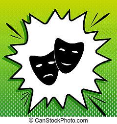 triste, bianco, nero, popart, felice, sfondo verde, icona, teatro, masks., spots., illustration., schizzo