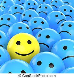 triste, felice, fra, ones, smiley