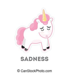 triste, isolato, unicorn.