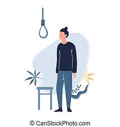 triste, suicide., uomo, pensare, tipo, circa, depresso