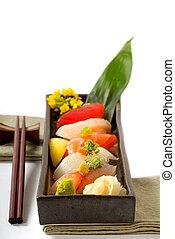 tritare, piastra, sushi, appiccicare, giapponese