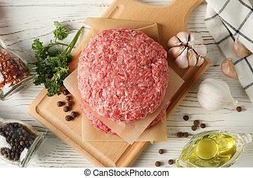 tritato, asse legno, carne taglio, cima, fondo, spezie, vista