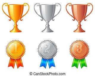 trofeo, campanelle, medals.