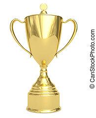 trofeo, dorato, tazza bianca