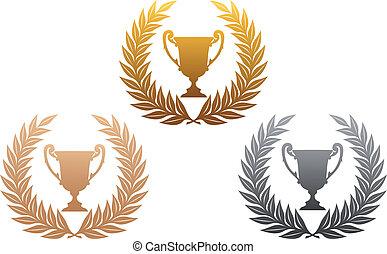 trofeo, ghirlande, dorato, alloro, argento, bronzo
