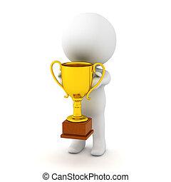 trofeo, oro, carattere, presa a terra, piccolo, 3d