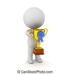 trofeo, piccolo, carattere, presa a terra, 3d