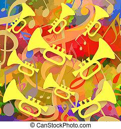 trombe, musica, fondo