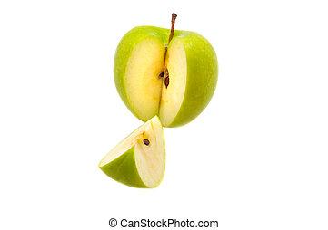 troncare, apple., grande, fetta, verde, fresco