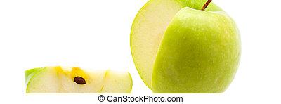troncare, apple., grande, isolated., fetta, verde, fresco