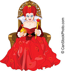 trono, arrabbiato, regina