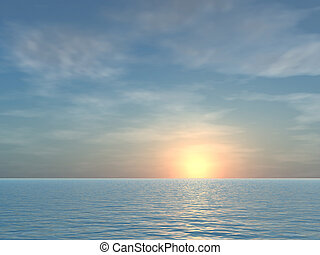 tropicale, aperto, alba, fondo, mare