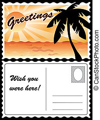tropicale, cartolina, paesaggio