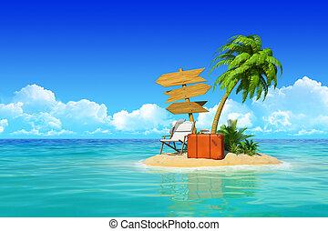 tropicale, concetto, signpost., legno, isola, valigia, tre, ricorso, travel., vacanze, albero, palma, vuoto, resto, chaise, deserto, salotto