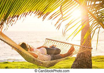tropicale, coppia, amaca, rilassante